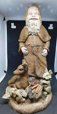 "Sarah's Attic Christmas Santa Figurine with Deer and Rabbits Le 9"""