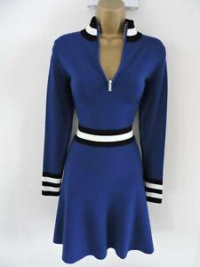Karen Millen L Size 14 16 SPORTY ZIP HIGH NECK FINE KNIT JUMPER DRESS BLUE