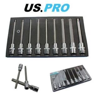 """US PRO Tools 1/2"""" Dr 9 Piece 140mm Long Torx Star Bit Sockets Set T27 - T70 3304"""