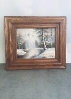 Artist interiors oil painting snowy landscape