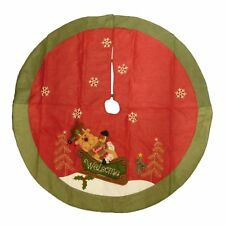 Red Reindeer Sitting In A Sleigh Woven Christmas Tree Skirt Holiday Decor