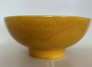 Vintage Haeger Bowl, MidCentury, Dark Yellow w/Brown Speckles. Marked USA 101.