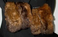"Vtg Pair Of Fluffy Sienna Real Opossum Fur Coat Cuffs Accessory 15"" X 7"""