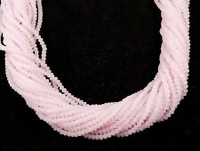 "5 Strands Rose Quartz Chalcedony Gemstone Faceted Approx 3-3.5mm Beads 13"" Long"
