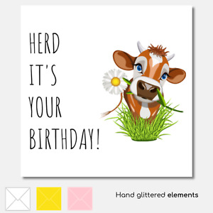 BIRTHDAY CARD Cow Cute Daisy Friend Farmer Farm Hand Glittered Accents Sticker