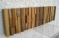 Mid Century Modern Abstract Cubist Brutalist Wood Wall Art Sculpture