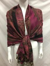 2PLY THICK PASHMINA CASHMERE PAISLEY HOTPINK WRAP SCARF STOLE
