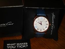 KENNETH COLE Unisex Watch Rose Gold 38 mm Blue Real Leather Band 10021684 Roman