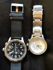 Nixon Watch Lot Chrono 51-30 Black Leather 42-20 Pearl Gems Stainless His Hers