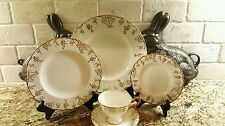 Royal Crown Derby Vine Gold 5 Piece Place Setting grapes leaves Red Stamp