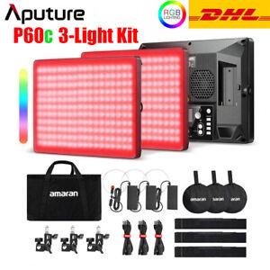 Aputure Amaran P60c/P60x 3-Light Kit RGBWW LED Panel Light Full Color Fill Light
