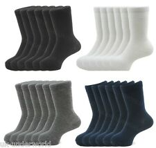 6 Pairs Girls Boys Ladies Plain Ankle Socks Cotton Mix Childrens Back To School