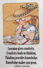 Mary Engelbreit Artwork-Learning Gives Creativity-Handmade Fridge Magnet