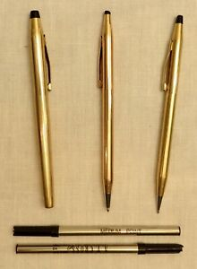VINTAGE TRIO OF GOLD FILLED CROSS WRITING INSTRUMENTS - PEN, PENCIL & SELECTIP