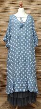 "LAGENLOOK LINEN OVERSIZED BEAUTIFUL DOTS LONG DRESS*BLUE*BUST UP TO 54"" XL-XXL"