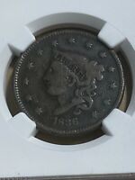 1836 US Coronet Head Large Cent Graded VG8BN by NGC!!