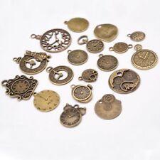 18pcs Vintage Metal Zinc Alloy Mixed Clock Pendant Charms Steampunk Clock