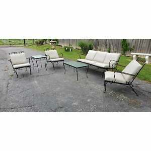 Black Iron Set With Cushions Garden Seating & Tables