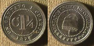 Colombia : 1874 1 1/4 Ct Gem BU Specimen Quality   # 173  IR4125