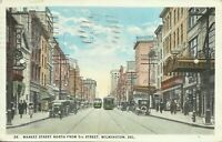 Wilmington Delaware Market Street North from 5th Street View 1924 Postcard