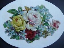 Antique Die-Cut Embossesd ROSES & VIOLETS large bouquet