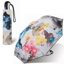 ESPRIT Damen-Regenschirm Auf-Zu-Automatik, Taschen-Schirm Kurz, Blumen Orchideen