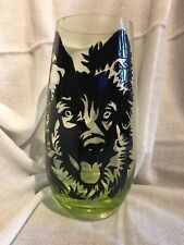 Handmade Glasses vase . German Shepherd Dog