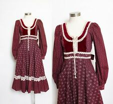 Vintage GUNNE SAX Dress 1970s Maroon Floral Printed Cotton Crochet Lace Small 9