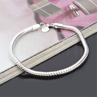 925 Fashion Silver Snake Bracelet Chain Rope 3mm Ladies Charms Gift 20.5cm
