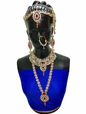 Indian Bollywood Style Wedding Ethnic Bridal Gold Plated 9 PCS Jewelry Set