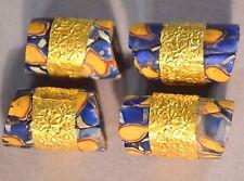 Antique Venetian Millefiori Glass Beads African Ashanti Gold Washed Center Bands