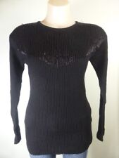 REDUCED!! black beaded Pure New Wool Jumper: boho glam Sequin long sleeve 6 8
