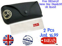 2 PCS RAY BAN BLACK SUNGLASSES  CASE & CLOTH