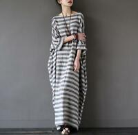 Vintage Women casual loose COTTON LINEN dress long sleeve Maxi shirt dress