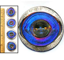 27mm Vintage Czech Glass MOD OPTICAL EYE 3-D PURPLE Blue Flash AB Buttons 4pc