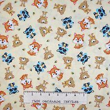 Nursery Baby Fabric - Woodland Cuties Animals Toss Cream - Henry Glass YARD