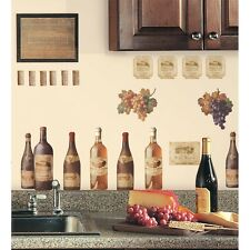 WINE BOTTLES 56 Wall Stickers Dining Room Decor Kitchen Decals Labels Grapes NEW