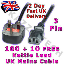 100 x Kettle 3-Pin Power Cord Mains Cable Lead UK Plug!!! 1.8m 10A FUSED IEC