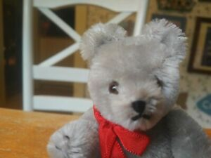 1980s Gray Mohair Miniature Teddy Bear by Hermann Teddy Originals 5in EUC