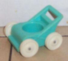 Vintage 80's Fisher Price Little People Blue Stroller #761 2504 FPLP