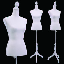 White Female Mannequin Torso Clothing Display W/ White Tripod Stand New
