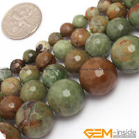 """Natural Green Opal Gemstone Faceted Round Beads For Jewelry Making 15"""" 12mm 14mm"""