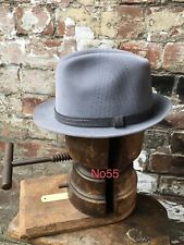 56cm GENUINE VINTAGE GREY WEGENER TRILBY HAT FEDORA WW2 DEMOB SUIT ROCKABILLY