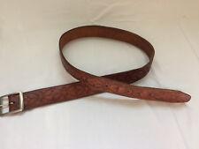 Vintage Leather Belt Western Hippie Biker Cowboy Tooled buckle 30 32 33 34