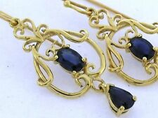 E040 - SUPERB Genuine 9ct Solid Yellow Gold NATURAL Sapphire Filigree Earrings