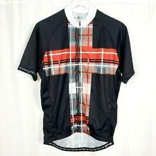 Danny Shane Tartan Plaid Cycling Bamboo Polyester Black Red Mens Xl Jersey Shirt