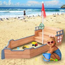 Kids Beach Wood Pirate Boat Sandbox Sandpit Playen Playset Toy W/ Bench + Flag