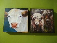 Wood Sign Tiered Tier Tray Country Cows Gift Set Farmhouse Handmade Décor M