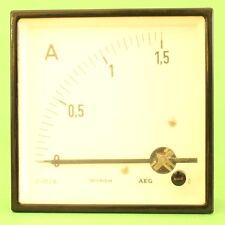 AMPEREMETRE DE TABLEAU A AIGUILLE GALVANOMETRE 90° INDICATEUR COURANT 1,5A AEG