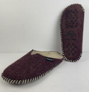 Woolrich Maroon Womens Felt Mill Scuff Slipper Contrast Whipstitch Fleece SZ 6.5
